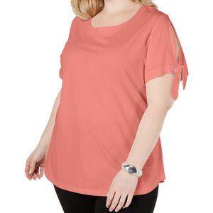 Karen Scott, Scoop Neck Slit Sleeve T-Shirt